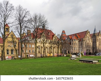 Manchester, UK. February 25, 2020. Manchester University campus, Oxford Road. Gothic Revival architecture of the John Owens building and annex across quadrangle