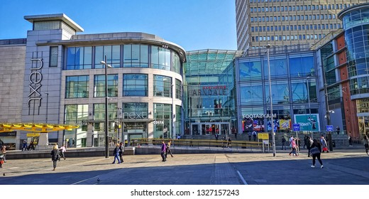 MANCHESTER, UK - FEBRUARY 26, 2019: View of the Arndale Centre from Exchange Square on a bright sunny winter day in the centre of Manchester