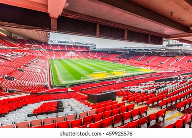 Manchester, UK - February 27, 2016: Old Trafford is a football stadium in Old Trafford, Greater Manchester, England, and the home of Manchester United with a capacity of 75,635.
