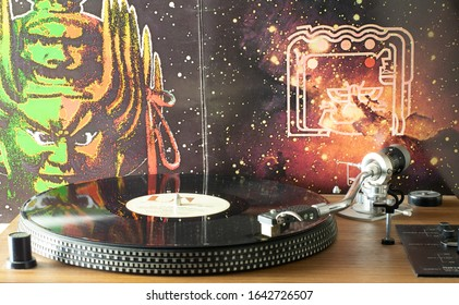 Manchester UK. February 5, 2020. Playing Hawkwind Space Ritual vinyl album on a direct drive record player with the album on the turntable and and stylus on the first track