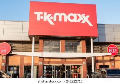 Manchester, UK - January 5th 2015: TK Maxx the UK discount fashion retailer shop sign and storefront