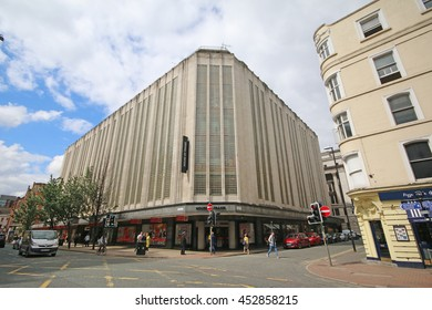 MANCHESTER, UK - JULY 14, 2016: Department store. Manchester is a major city and metropolitan borough in Greater Manchester and lies within the United Kingdom's second-most populous urban area.
