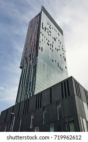MANCHESTER UK - JULY 15TH 2015; Looking up at the Beetham Tower 47-storey skyscraper, designed by Ian Simpson and built in 2006