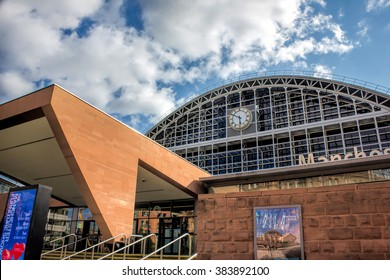 MANCHESTER, UK - JULY 16, 2015: Manchester Central Convention Complex. Formerly Manchester Central Train Station Now Key Manchester Cultural Site For Music, Arts, Business Expos And Other Events.