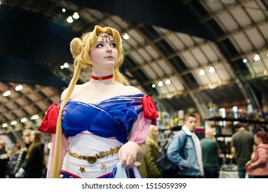 Manchester, UK - July 27, 2019: Cosplayer dressed as Sailor Moon from the anime Sailor Moon dressed in a design by Hannah Alexander at Manchester MCM Comic Convention.