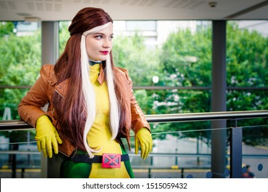 Manchester, UK - July 27, 2019: Cosplayer dressed as Rogue from the X Men at Manchester MCM Comic Convention.