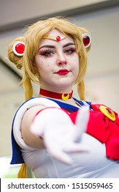 Manchester, UK - July 27, 2019: Cosplayer dressed as Sailor Moon from the anime Sailor Moon at Manchester MCM Comic Convention.