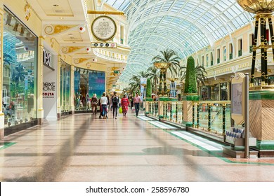 MANCHESTER, UK - JUNE 19, 2015: Peel avenue in the Trafford Shopping Centre. The Trafford Centre is large indoor shopping centre and leisure complex in Greater Manchester, England. Area - 185,000 sqm.
