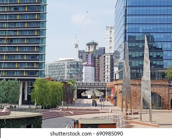 MANCHESTER, UK - JUNE 20, 2017: The steel-framed Embankment commercial office development is the first part of a large regeneration scheme altering the area separating Manchester and Salford.