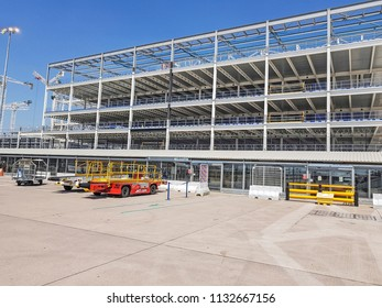 MANCHESTER, UK - JUNE 26 2018: The steel framework of the new Terminal One being constructed at Manchester Airport,