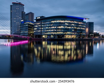 Manchester, UK - June 28, 2014: Twilight view of the BBC TV studios at Salford Quays in Manchester