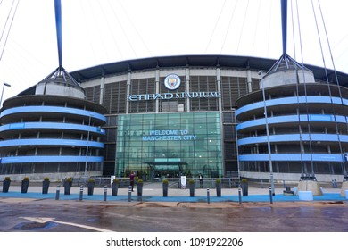 MANCHESTER, UK - MARCH 15, 2018: Entrance of Etihad stadium, Home of Manchester City