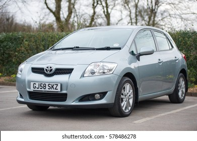 MANCHESTER, UK - MARCH 17, 2014: Toyota Auris car. The Toyota Auris is a compact hatchback derived from the Toyota Corolla. Introduced in 2006.