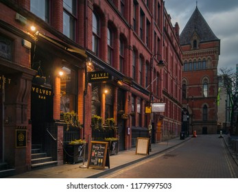 MANCHESTER, UK - MARCH 26, 2018: View across the Velvet bar, hotel and restaurant, in Manchester, UK
