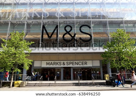 Manchester. U.K. May 11,Facade of Marks and Spencer Store, May 11, 2017 in Manchester U.K.