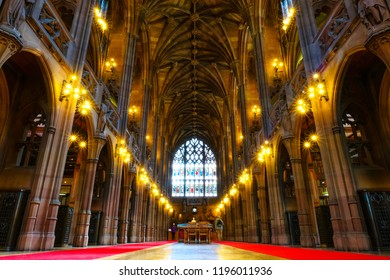 Manchester, UK - May 18 2018: John Rylands Library built in 1988 by Enriqueta Rylands, his wife after John's death, it's opened to public in 1900. The library houses some 4 millions invaluable books