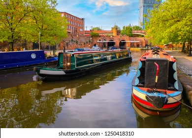 Manchester, UK - May 18 2018: Castlefield is an inner city conservation which was the site of the Roman era fort of Mamucium or Mancunium which gave its name to Manchester