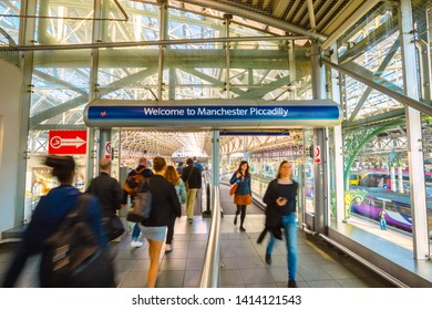 Manchester, UK - May 18 2018: Manchester Piccadilly is the principal railway station in Manchester  hosts long-distance intercity and cross-country services to national destinations