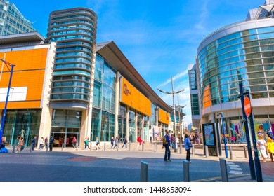 Manchester, UK - May 18 2018: Cityscape and architecture at Manchester city centre where is the location of the central business dictrict