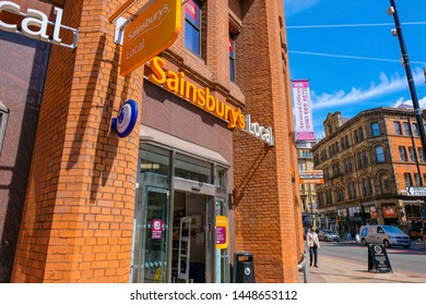 Manchester, UK - May 18 2018: Sainsbury's is the 3rd largest chain of supermarkets in the UK, Founded in 1869, by John James Sainsbury, in 1995, Tesco overtook Sainsbury's to become the market leader