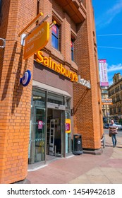 Manchester, UK - May 18 2018:Sainsbury's is the third largest chain of supermarkets in the UK, Founded in 1869, by John James Sainsbury, in 1995, Tesco overtook Sainsbury's to become the market leader
