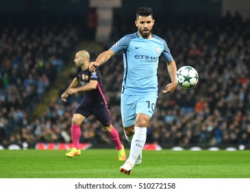 MANCHESTER, UK - NOVEMBER 1, 2016: Sergio Aguero pictured during the UEFA Champions League Group C game between Manchester City and FC Barcelona on Etihad Stadium.