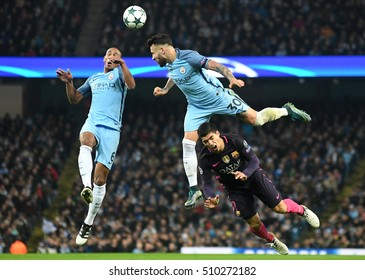 MANCHESTER, UK - NOVEMBER 1, 2016: Fernando, Nicolas Otamendi and Luis Suarez pictured during the UEFA Champions League Group C game between Manchester City and FC Barcelona on Etihad Stadium.