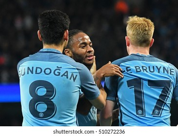MANCHESTER, UK - NOVEMBER 1, 2016: Gundogan, Raheem Sterling andDe Bruyne celebrate a goal during the UEFA Champions League Group C game between Manchester City and FC Barcelona on Etihad Stadium.