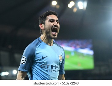 MANCHESTER, UK - NOVEMBER 1, 2016: Ilkay Gundogan celebrates a goal scored during the UEFA Champions League Group C game between Manchester City and FC Barcelona on Etihad Stadium.