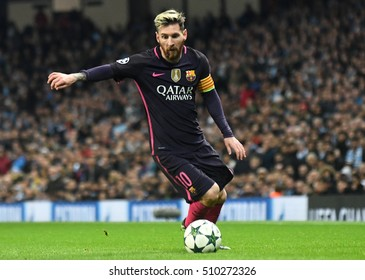 MANCHESTER, UK - NOVEMBER 1, 2016: Lionel Messi pictured during the UEFA Champions League Group C game between Manchester City and FC Barcelona on Etihad Stadium.