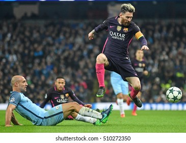 MANCHESTER, UK - NOVEMBER 1, 2016: Pablo Zabaleta and Lionel Messi picturedduring of the UEFA Champions League Group C game between Manchester City and FC Barcelona on Etihad Stadium.