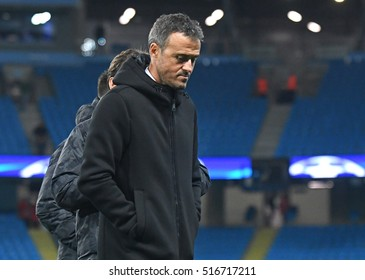 MANCHESTER, UK - NOVEMBER 1, 2016: Luis Enrique pictured prior to the UEFA Champions League Group C game between Manchester City and FC Barcelona on Etihad Stadium.