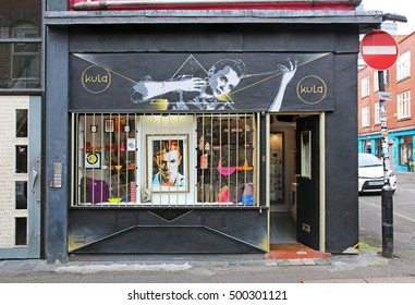MANCHESTER, UK - OCTOBER 15, 2016: Shop, Manchester's Northern Quarter. The Northern Quarter is an invention of the 1990's as part of the regeneration and gentrification of Manchester.