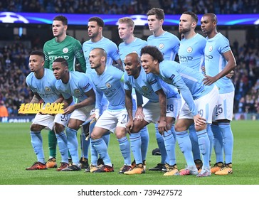 MANCHESTER, UK - OCTOBER 17, 2017: City line up pictured prior to the UEFA Champions League Group F game between Manchester City and SSC Napoli at City of Manchester Stadium.