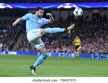 MANCHESTER, UK - OCTOBER 17, 2017: Kyle Walker pictured during the UEFA Champions League Group F game between Manchester City and SSC Napoli at City of Manchester Stadium.