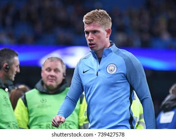 MANCHESTER, UK - OCTOBER 17, 2017: Kevin de Bruyne pictured during the UEFA Champions League Group F game between Manchester City and SSC Napoli at City of Manchester Stadium.