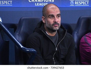 MANCHESTER, UK - OCTOBER 17, 2017: Josep Guardiola pictured during the UEFA Champions League Group F game between Manchester City and SSC Napoli at City of Manchester Stadium.