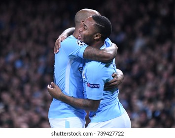 MANCHESTER, UK - OCTOBER 17, 2017: Raheem Sterling pictured during the UEFA Champions League Group F game between Manchester City and SSC Napoli at City of Manchester Stadium.