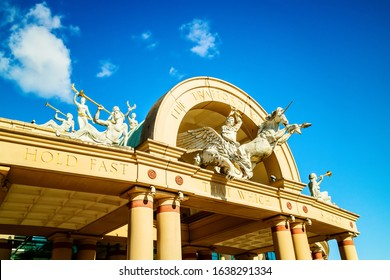 MANCHESTER, UK - October 2, 2019: Exteror of the Trafford Centre, a large indoor shopping centre and leisure complex in Greater Manchester.