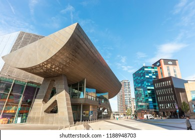 MANCHESTER, UK - September 25, 2018: The Lowry Theatre and Gallery in Salford Quays, Manchester.