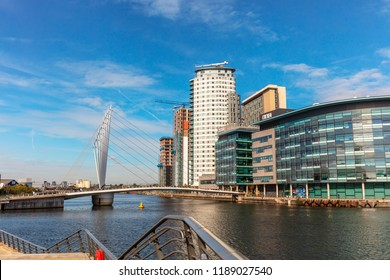 MANCHESTER, UK - September 25, 2018: MediaCityUK is a mixed-use property development on the banks of the Manchester Ship Canal in Salford.