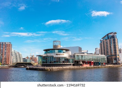 MANCHESTER, UK - September 25, 2018: The Lowry at Salford Quays is the Greater Manchester's most visited tourist attraction.