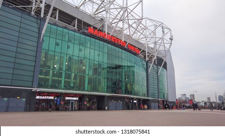 Manchester United Football Ground in Old Trafford - MANCHESTER / ENGLAND - JANUARY 1, 2019