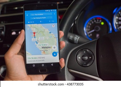 MANCHESTER, UNITED KINGDOM -18 JUNE 2016: Google Maps is used to navigate a journey while driving. It is a free navigation service of the Google company.