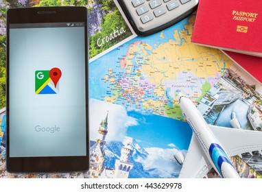 MANCHESTER, UNITED KINGDOM -27 JUNE 2016: Mobile apps make traveling so much easier. Google Maps app makes navigating your world faster and easier.