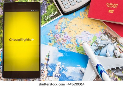 MANCHESTER, UNITED KINGDOM -27 JUNE 2016: Mobile apps make traveling so much easier. Find cheap flights and save money on airline tickets to your favorite travel spots with CHEAPFLIGHTS app.