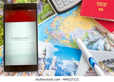 MANCHESTER, UNITED KINGDOM -27 JUNE 2016: Mobile apps make traveling so much easier. The Hotels.com app is the simple, fast and secure way to book your perfect hotel.