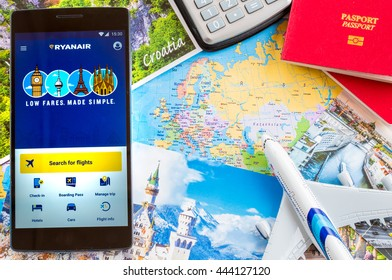 MANCHESTER, UNITED KINGDOM -27 JUNE 2016: Mobile apps make traveling so much easier. With RYANAIR App at your fingertips, Europe is at your feet.