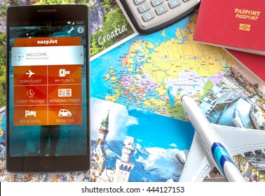 MANCHESTER, UNITED KINGDOM -27 JUNE 2016: Mobile apps make traveling so much easier. You can search, book and manage your easyjet flights all in the palm using EASYJET app.