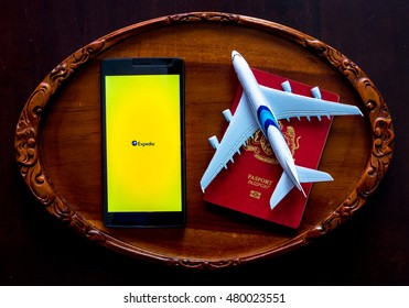 MANCHESTER, UNITED KINGDOM -27 JUNE 2016: Mobile apps make traveling so much easier. Plan your trip with EXPEDIA app.(Conceptual Image)